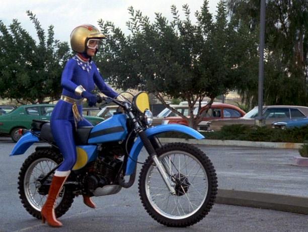 Lynda carter in wonder woman riding a 1979 yamaha it175 for Yamaha motorcycles for women